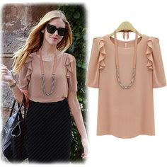 Brown Sleeve Ruffled Shoulder Blouse from Arrow Brand. Saved to skirts. #blouses.