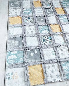Moon Cloud and Stars Minky Rag Quilt Nursery by TheCuddlyQuilt