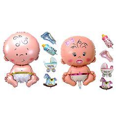 5ピース赤ちゃん美容シャワー箔バルーンベビーシャワー男の子女の子ホリデー装飾箔風船ベビーカーブルー(男の子)ピンク(女の子)