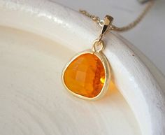 Indian Yellow Glass Stone Necklace with Gold by BeadingTimes, $20.00