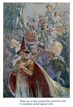 Margaret W. Tarrant - The Pied Piper of Hamelin - Portal Small cloth bound book published by J. Dent in 1928 - this is a 1969 reprint Brothers Grimm Fairy Tales, Baumgarten, Psychedelic Drawings, Legends And Myths, Fairytale Art, You Draw, Illustrators, Illustration Art, Book Illustrations