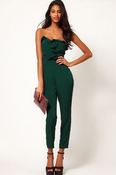 Buy ASOS Bandeau Jumpsuit With Frill Front at ASOS. With free delivery and return options (Ts&Cs apply), online shopping has never been so easy. Get the latest trends with ASOS now. Bandeau Jumpsuit, Ruffle Jumpsuit, Strapless Jumpsuit, Jumpsuit Pattern, Long Jumpsuits, Jumpsuits For Women, Playsuits, Style Outfits, Fashion Outfits