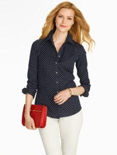 Talbots - The Perfect Long-Sleeve Shirt - Fun Dot Print | Blouses and Shirts | Misses