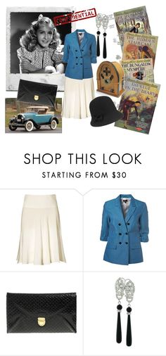 """Nancy Drew"" by bramblewoodfashion ❤ liked on Polyvore featuring Polaroid, 1928, H&M, Retrò, ASOS, Fantasy Jewelry Box, nancy drew, blue, skirt and blazer"