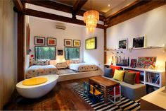 """""""Lalaland"""" is the affectionately named home of Architect Valentina Audrito and her family, located in Canggu, Bali. Interior Exterior, Interior Architecture, Interior Design, Kid Spaces, Living Spaces, Small Spaces, Living Room, Cool Kids Bedrooms, Kids Rooms"""