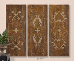 "Large Tuscany Art | ... Swirl Panels Wall Art Painting Scroll Medallion Large 40"" Tuscan Decor"