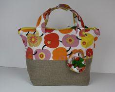 Petit sac à main en lin et coton aux pommes