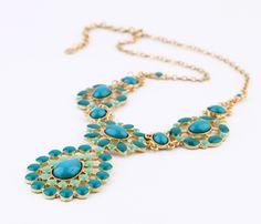 Turquoscie Artificial Gemstone Alloy Pendant Necklace
