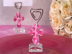 Item # W001 Murano Pink Glass Cross Place Card Holder : We have the perfect addition to your elegant affair with our Murano Art Deco Collection place card holders Price $2.99each