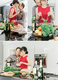 Cooking-themed pre-wedding photo shoot for chefs Gary and Lynette // Having first met when Gary was a sous chef and Lynette a patisserie chef (and now owners of grill/bar The Carving Board), the pair translated their love for food into their home engagement shoot and wedding at Tamarind Hill Singapore beautifully.