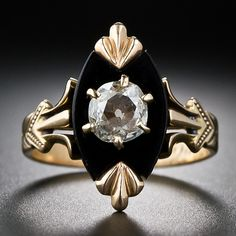 Victorian Onyx and Diamond Ring