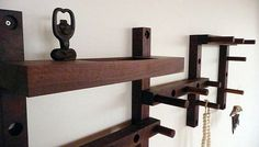 Thru - Block Wooden Coat Rack- 7 Piece Vertical Or Horizontal Pattern With Key…