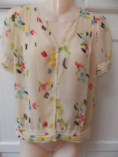 New PINS AND NEEDLES Abstract Floral Pintucked Sheer Beige Button Blouse S