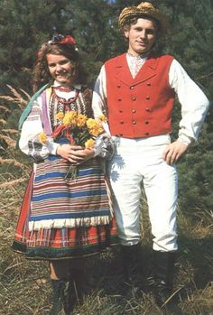 "Polish folk costume (called in Polish ""nadbużański"", from Podlachia)- This is what my outfit looks like, except I'm a married women and have to wear the head scarf :) Polish Clothing, Folk Clothing, Art Costume, Folk Costume, People Of The World, My People, Polish Folk Art, Married Woman, My Heritage"
