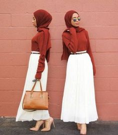 maroon with white hijab- Long and modest hijab outfits http://www.justtrendygirls.com/long-and-modest-hijab-outfits/
