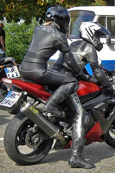 Motorcycle Leather Girl by tobass, via Flickr