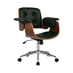 Looking to turn up the volume on your office décor? We love the aerodynamic look of this Flight Deck Office Chair. Gorgeous black leatherette and walnut veneer interplay keenly to produce a thoroughly ...  Find the Flight Deck Office Chair, as seen in the Breaking News Collection at http://dotandbo.com/collections/breaking-news?utm_source=pinterest&utm_medium=organic&db_sku=DBI6003-blk