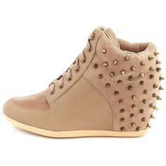 Spike Back Lace-Up Wedge Sneaker ($40) ❤ liked on Polyvore