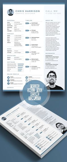 Business infographic & data visualisation Free Single Page Resume Template PSD. Infographic Description Free Single Page Resume Template PSD - Resume Tips, Resume Cv, Resume Examples, Free Resume, Resume Ideas, Cv Design, Layout Design, Clean Design, Conception Cv