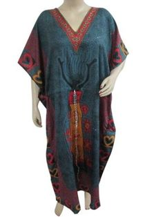 Amazon.com: Kaftan, Womens Caftan- Patio Dress ,Lounge Wear, Bohemian Steel Blue Kaftans Long Maxi Dress: Clothing