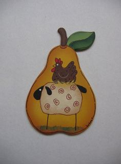 Tole Painted Pear Shaped Magnet with Folk Art by barbsheartstrokes,