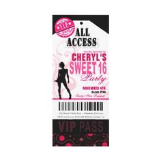 """TURNING SWEET 16? We've got your ticket right here! If you're having a black, white and pink themed party, this bold, fun and modern """"VIP Sweet Sixteen Ticket"""" invitation is perfect for you! designed by Cheryl Daniels © 2011."""