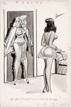 """""""The party he wanted me to liven up was his party of one!"""" Original Bill Wenzel art for a cartoon published in Snappy (Timely Features/Humorama, Trans Art, Girl Artist, Male Magazine, A Cartoon, Pin Up Art, Funny Comics, Comic Art, Cool Girl, Princess Zelda"""