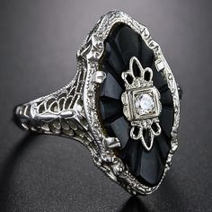 Art Deco onyx and diamond dinner ring, 1930's. Love. I have one almost exactly…