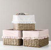 Ruffled Cotton Seagrass Shelf Basket Liner   Baskets & Bins   Restoration Hardware Baby & Child