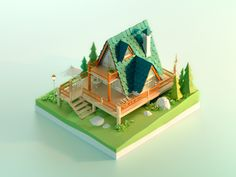 Forest Chalet lowpoly green plant scenes 3d model building wood trees house chalet forest 3d c4d Isometric Art, Isometric Design, Building Drawing, 3d Building, Chalet Design, Cartoon House, Pix Art, Vintage House Plans, Modelos 3d