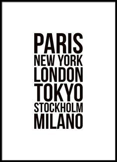 Poster met tekst met fashion week steden