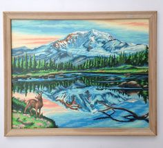 Framed Paint by Number Mountain Lake Deer Scene 22 x 17 Vtg Mid Century Painting | eBay