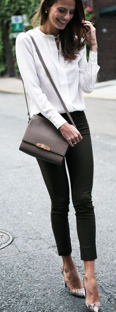 Minimal chic. Ballet flats instead of these heals for those of us who no longer wish to tempt fate!