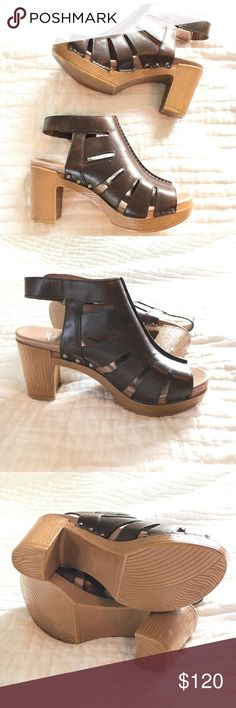 Dansko demetra vintage teak pull up heels clogs Brand new in box (missing lid). Fasten with a Velcro Strap. These shoes are the most comfortable heels ever! Would best fit a 6.5 or 7. Dansko Shoes Heels