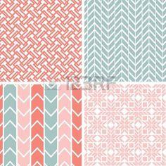 chevrons: Ensemble de quatre motifs géométriques gris rose et d'horizons