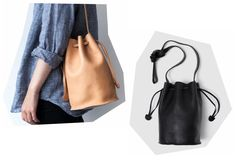 been digging the baggu leather drawstring bag for a while - can't decide between the black and the camel color though!