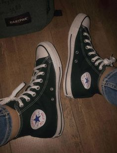 Converse Black Sneakers, Converse All Star, High Top Sneakers, Aesthetic Shoes, Chuck Taylor Sneakers, Chuck Taylors, High School, Vans, Fit