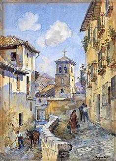 """""""Parroquia de San Pedro y San Pablo en Granada, desde la calle de Santa Ana"""", acuarela de George Apperley"""