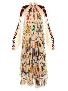 Ink-blot print high-neck gown | Chloé | MATCHESFASHION.COM US