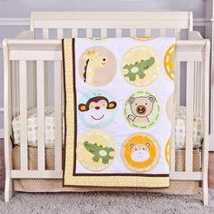Dream On Me Animal Kingdom 2-Piece Reversible Portable Crib Bedding Set
