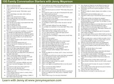 Prompts: Free PDF of 100 Family Conversation Starters. Great journal prompts for Project Life. Life Questions, This Or That Questions, 100 Questions, Conversation Starters, Conversation Ideas, Conversation Questions, Family Therapy, Family Genealogy, Journal Prompts