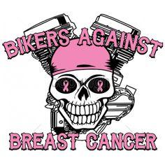 9x8  - BIKERS AGAINST BREAST CANCER - awareness, BANDANA, Biker, cancer, engine, Fashion, ladies, pink ribbon, Plastisol Transfer, skull, Biker, Cancer Awareness, Ladies Fashion