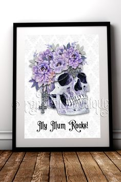 Alternative Mums Rock! Fabulous floral Skull fine art print your Mum would love #RockChicBoutique #AlternativeHomeDecor #Skulls #MothersDay