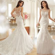 Fashion Vintage Lace Mermaid Wedding Dress Train Vestidos Sexy Plus Size Wedding Gown Bridal Dress Casamento Free Shipping