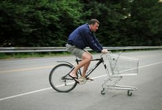 Attach a shopping trolley to your bicycle....