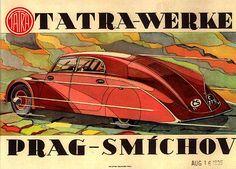 Tatra 77 poster Hans Ledwinka's masterpiece, the aerodynamic car, the Tatra made in Koprivnice, Czechoslovakia. Vintage Advertisements, Vintage Ads, Vintage Racing, Vintage Prints, Vintage Posters, Course Automobile, Car Brochure, Roadster, Old Classic Cars