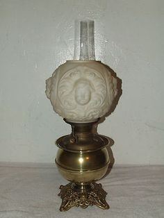 Antique 1896 Bradley Hubbard Victorian Cherub GWTW Banquet Table Oil Lamp B H | eBay