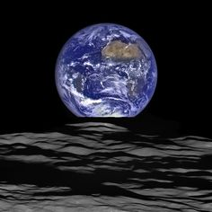 """New """"Earthrise"""" photo from NASA. One of the most — if not the most — famous images taken in space is """"Earthrise,"""" a photo of the Earth taken by the Apollo 8 crew as they rounded the back side of the Moon. Today, NASA has released. Nasa Photos, Nasa Images, Photos Du, Iconic Photos, Earth And Space, Cosmos, Astronomy Science, Science Art, Earth Science"""