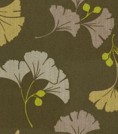 Waverly Modern Essentials Fabric-Gingko-Ago-Go / Chocolate