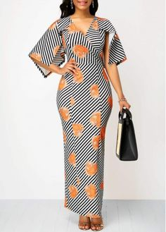 V Neck Half Sleeve Striped Maxi Dress African Fashion Ankara, Latest African Fashion Dresses, African Print Fashion, African Dresses For Women, African Print Dresses, African Attire, Striped Maxi Dresses, Casual Dresses, Half Sleeve Dresses
